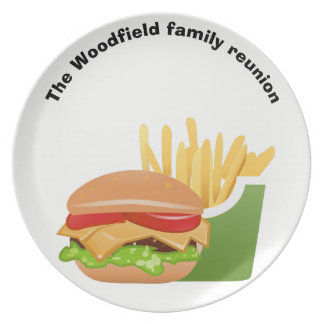 Hamburger Picnic Personalized family reunion Plate