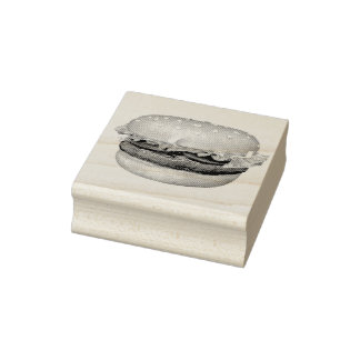Hamburger To Go Rubber Stamp