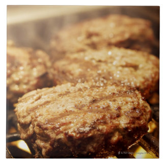 Hamburgers on the Grill Large Square Tile