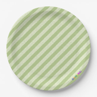 HAMbWG - Paper Goods - Light Lime Stripe w Logo 9 Inch Paper Plate
