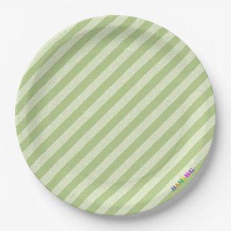 HAMbWG - Paper Goods - Light Lime Stripe w Logo Paper Plate