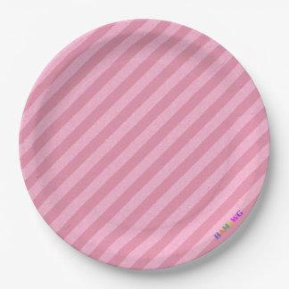 HAMbWG - Paper Goods - Light Pink Stripe w Logo 9 Inch Paper Plate