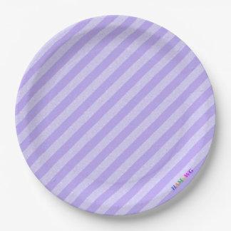 HAMbWG - Paper Goods - Lilac Lilac Stripe w Logo Paper Plate