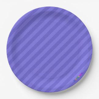 HAMbWG - Paper Goods - Purple Stripe w Logo Paper Plate