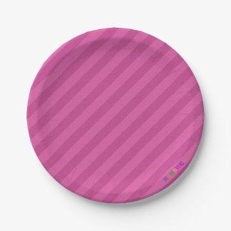 HAMbWG - Paper Goods - Raspberry Stripe w Logo 7 Inch Paper Plate