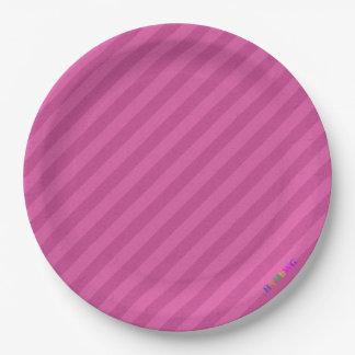 HAMbWG - Paper Goods - Raspberry Stripe w Logo Paper Plate
