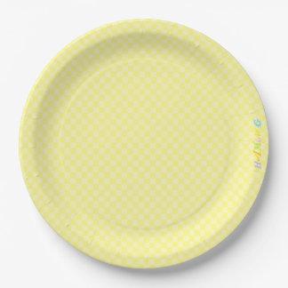 HAMbWG - Paper Goods - Yellow Gingham w Logo 9 Inch Paper Plate