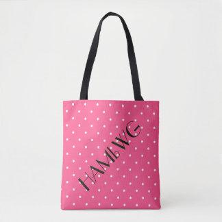 HAMbWG - Tote Bag - White/Pink Polka Dot