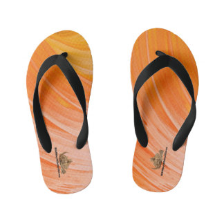 HAMbyWG - Boys Flip-Flops Bright Orange Swirl Kid's Flip Flops