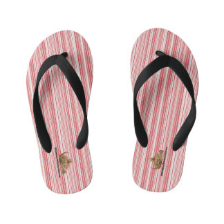 HAMbyWG - Boys Flip-Flops Red White Thin Stripes Kid's Flip Flops