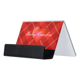 HAMbyWG - Business Card Holder - Red Plaid w Heart