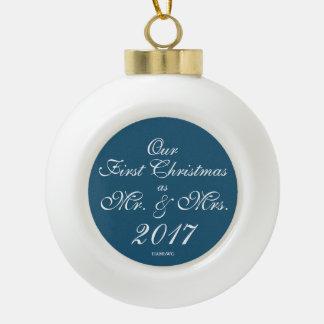 HAMbyWG - Ceramic Ball Ornament - Mr. & Mrs.