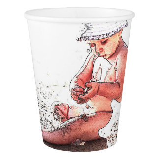 HAMbyWG Custom Paper Cup, 9 oz - Baby at Beach Paper Cup