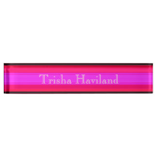 HAMbyWG Desk Name Plate - Hot Pinks & Black