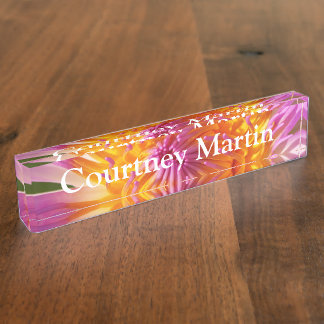 HAMbyWG - Desk Name Plate - Pink & Yellow Flower