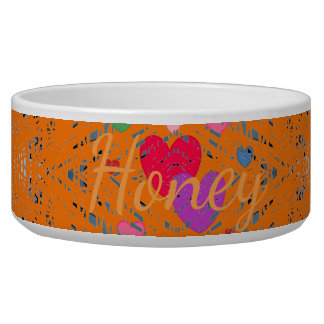 HAMbyWG - Dog food Bowl - Multi-Colored Hearts