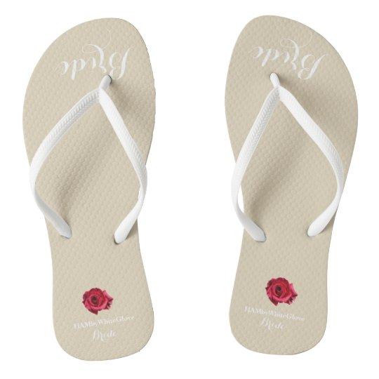 HAMbyWG - Flip-Flop - Bride w/White Lettering/Rose Flip