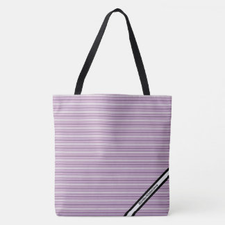 HAMbyWG - LG Tote Bag - Violet Horizontal Stripes