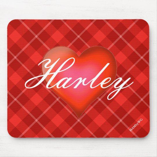 HAMbyWG - Mouse Pad -Red Plaid Heart