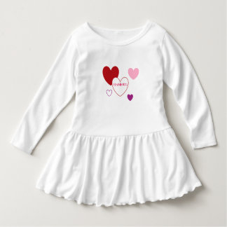 HAMbyWG - Toddler Ruffle Dress - Red Pink Hearts