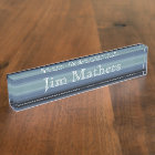 HAMbyWhiteGlove - Desk Name Plate - Grey-Blue
