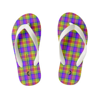HAMbyWhiteGlove Toddler  Flip-Flops - Bright Plaid Kid's Flip Flops