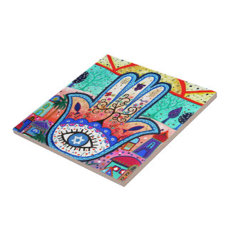 HAMESH BAR BAT MITZVAH HAMSA WHIMSICAL PAINTING SMALL SQUARE TILE