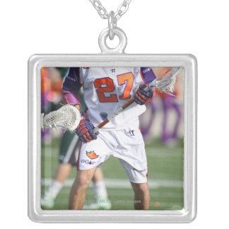HAMILTON,CANADA - JULY1:  David Earl #27 Silver Plated Necklace