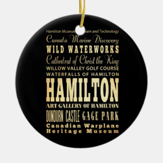 Hamilton City of Ontario Typography Art Christmas Ornament