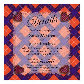"Hamilton Scottish clan tartan - Plaid 5.25"" Square Invitation Card"