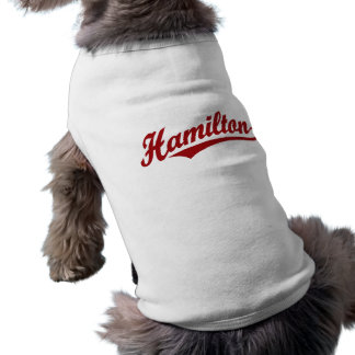 Hamilton script logo in red shirt