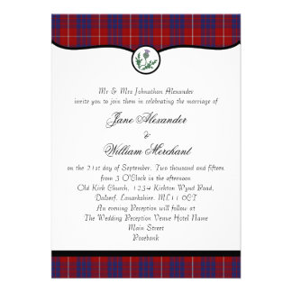 Hamilton Tartan Plaid Thistle Wedding Invites