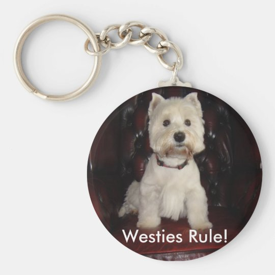 Hamish says Westies Rule keychain