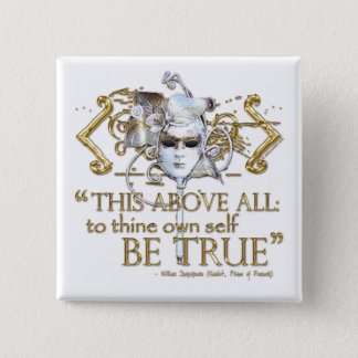 "Hamlet ""own self be true"" Quote (Gold Version) 15 Cm Square Badge"