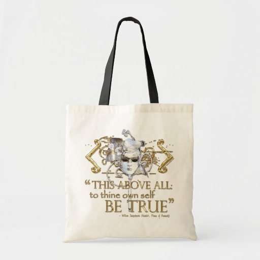 """Hamlet """"own self be true"""" Quote (Gold Version) Tote Bags"""