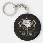 """Hamlet """"own self be true"""" Quote (Gold Version) Basic Round Button Key Ring"""