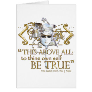 "Hamlet ""own self be true"" Quote (Gold Version) Note Card"