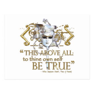 "Hamlet ""own self be true"" Quote (Gold Version) Postcard"