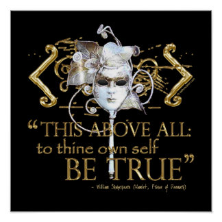 "Hamlet ""own self be true"" Quote (Gold Version) Poster"