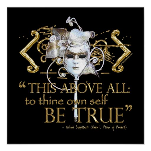 """Hamlet """"own self be true"""" Quote (Gold Version) Posters"""