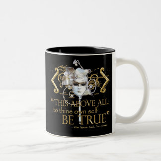"""Hamlet """"own self be true"""" Quote (Gold Version) Two-Tone Mug"""