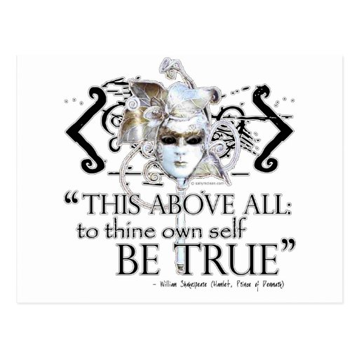"""Hamlet """"... own self be true ..."""" Quote Postcard"""