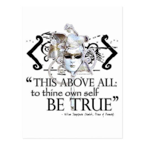 """Hamlet """"... own self be true ..."""" Quote Post Card"""
