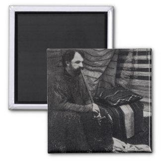 Hamlin Garland in his Cheyenne Teepee Smoking Square Magnet