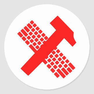 Hammer and Keyboard Classic Round Sticker