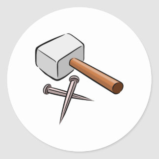 Hammer and Nails Classic Round Sticker
