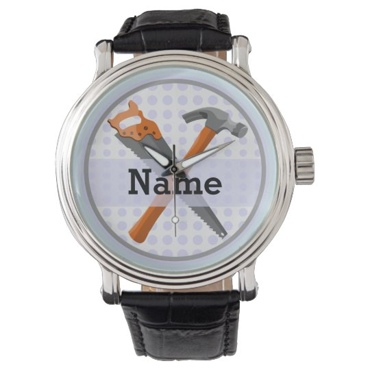 Hammer and saw design for boys watch