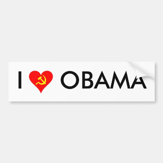 (Hammer and Sickle) I Love Obama [WHITE] Bumper Sticker