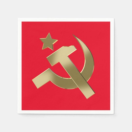 Hammer and sickle paper napkin