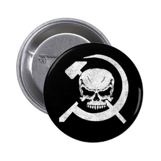 Hammer and Sickle with Skull 6 Cm Round Badge